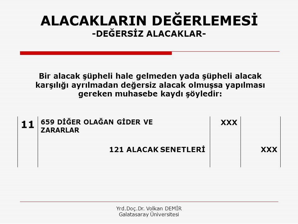 Yrd.Doç.Dr. Volkan DEMİR Galatasaray Üniversitesi ALACAKLARIN DEĞERLEMESİ -DEĞERSİZ ALACAKLAR- 11 659 DİĞER OLAĞAN GİDER VE ZARARLAR XXX 121 ALACAK SE