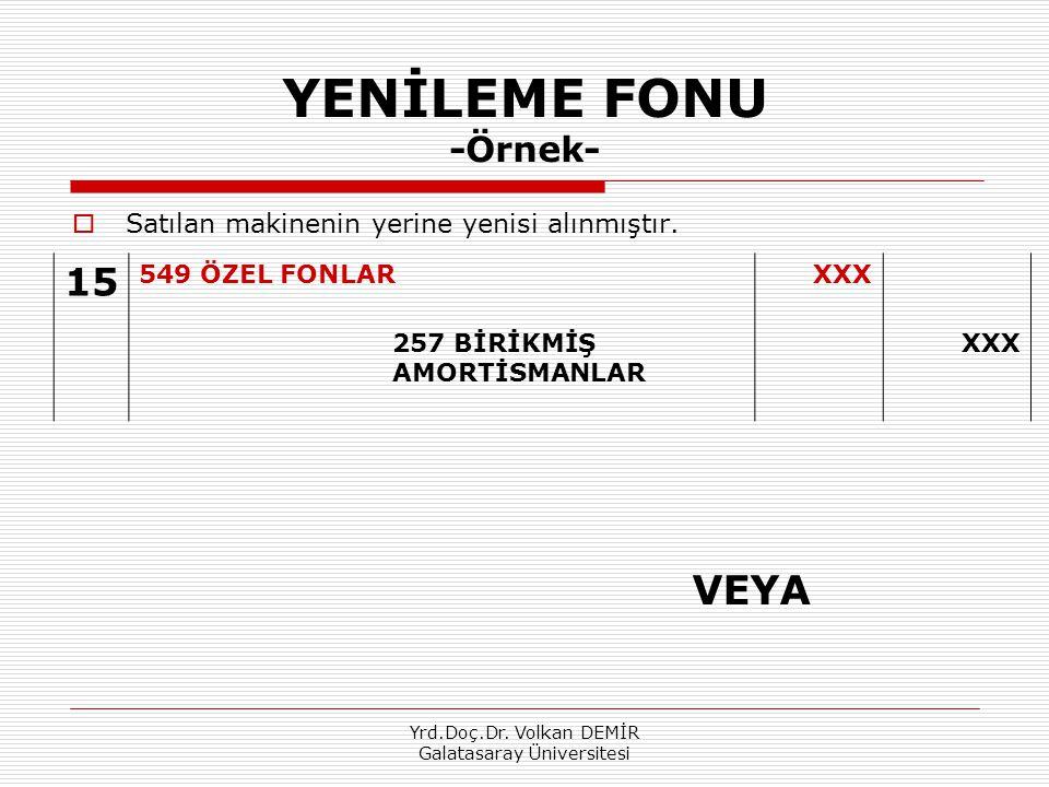 Yrd.Doç.Dr. Volkan DEMİR Galatasaray Üniversitesi YENİLEME FONU -Örnek-  Satılan makinenin yerine yenisi alınmıştır. 15 549 ÖZEL FONLARXXX 257 BİRİKM