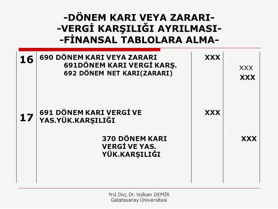 Yrd.Doç.Dr. Volkan DEMİR Galatasaray Üniversitesi -DÖNEM KARI VEYA ZARARI- -VERGİ KARŞILIĞI AYRILMASI- -FİNANSAL TABLOLARA ALMA- 16 17 690 DÖNEM KARI
