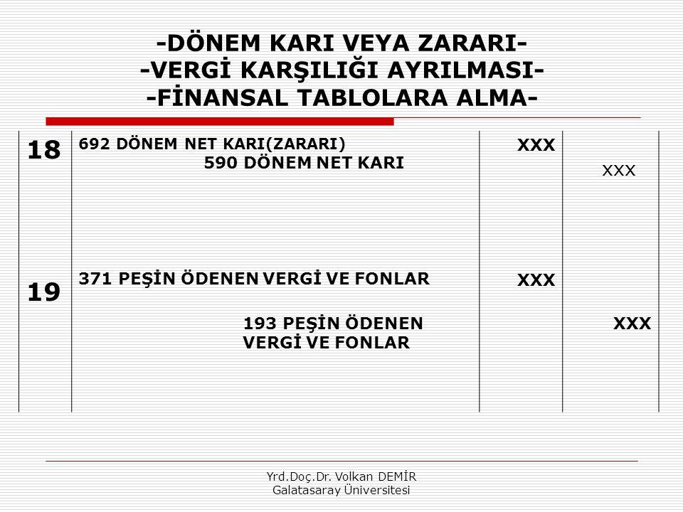 Yrd.Doç.Dr. Volkan DEMİR Galatasaray Üniversitesi -DÖNEM KARI VEYA ZARARI- -VERGİ KARŞILIĞI AYRILMASI- -FİNANSAL TABLOLARA ALMA- 18 19 692 DÖNEM NET K