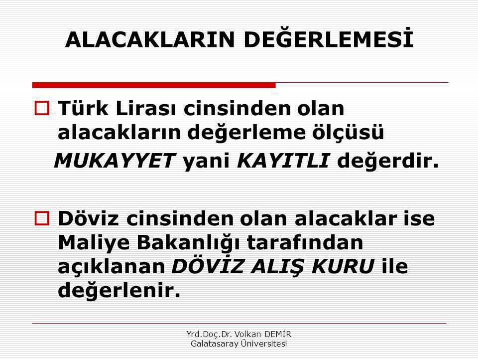 Yrd.Doç.Dr. Volkan DEMİR Galatasaray Üniversitesi ALACAKLARIN DEĞERLEMESİ  Türk Lirası cinsinden olan alacakların değerleme ölçüsü MUKAYYET yani KAYI