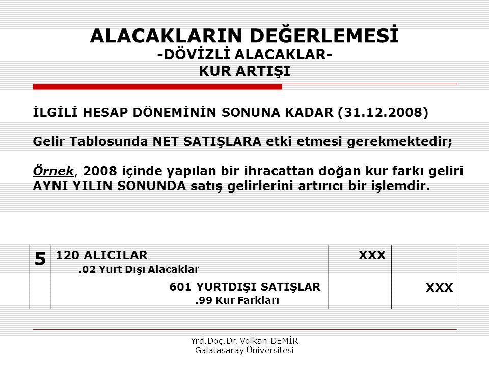 Yrd.Doç.Dr. Volkan DEMİR Galatasaray Üniversitesi ALACAKLARIN DEĞERLEMESİ -DÖVİZLİ ALACAKLAR- KUR ARTIŞI 5 120 ALICILAR.02 Yurt Dışı Alacaklar XXX 601