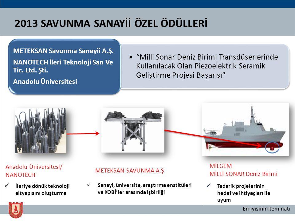 """2013 SAVUNMA SANAYİİ ÖZEL ÖDÜLLERİ """"Milli Sonar Deniz Birimi Transdüserlerinde Kullanılacak Olan Piezoelektrik Seramik Geliştirme Projesi Başarısı"""" ME"""