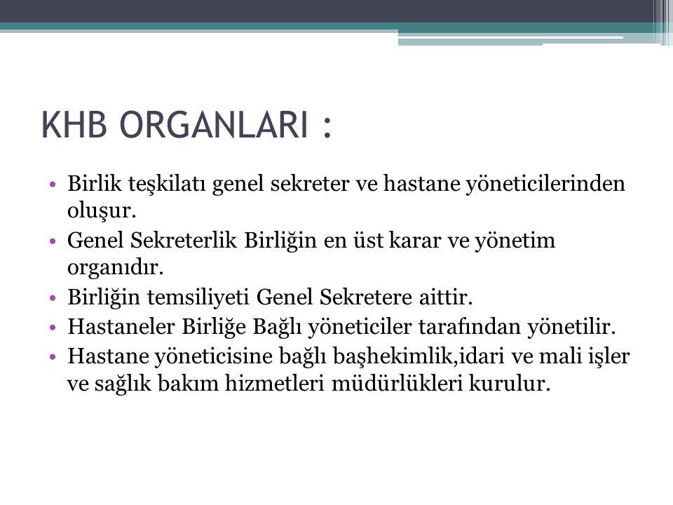 KHB ORGANLARI : Birlik teşkilatı genel sekreter ve hastane yöneticilerinden oluşur.