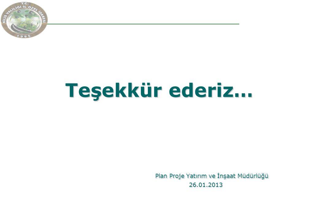 Teşekkür ederiz… Plan Proje Yatırım ve İnşaat Müdürlüğü 26.01.2013