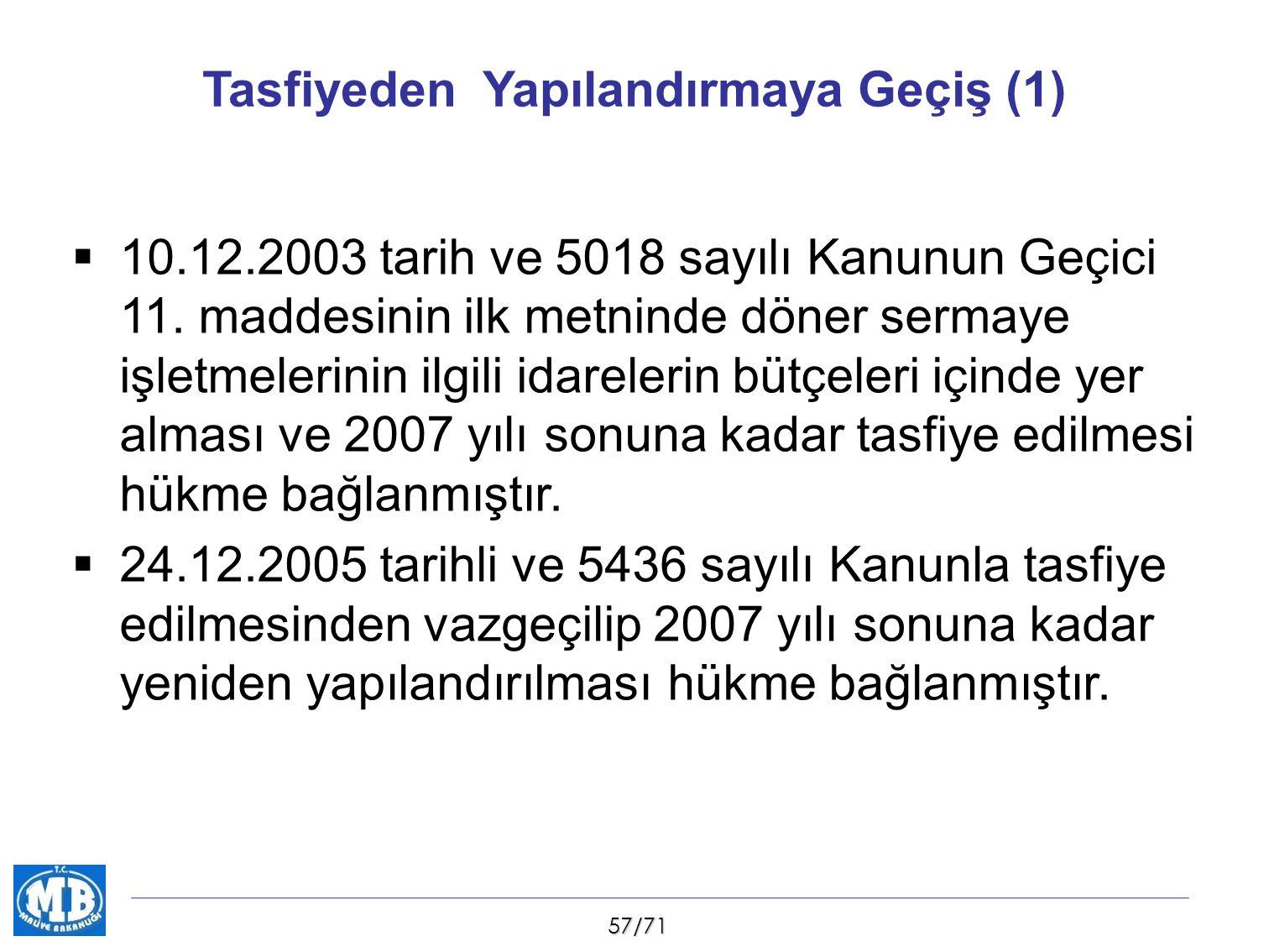 57/71 Tasfiyeden Yapılandırmaya Geçiş (1)  10.12.2003 tarih ve 5018 sayılı Kanunun Geçici 11. maddesinin ilk metninde döner sermaye işletmelerinin il