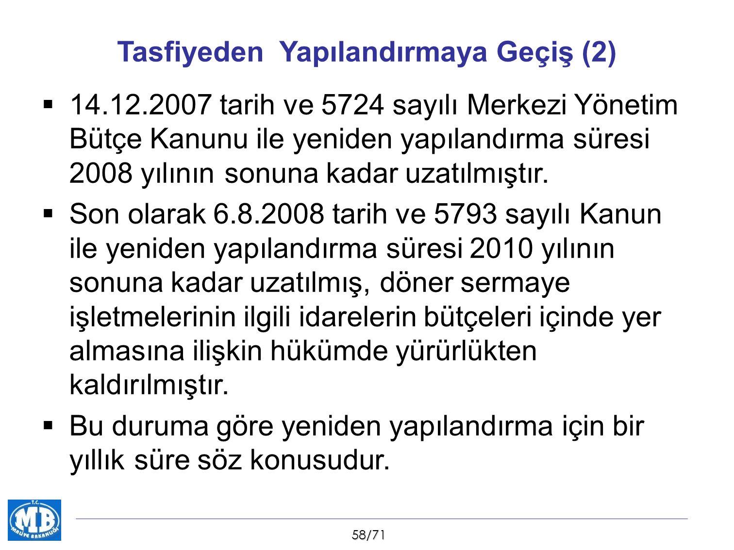 58/71 Tasfiyeden Yapılandırmaya Geçiş (2)  14.12.2007 tarih ve 5724 sayılı Merkezi Yönetim Bütçe Kanunu ile yeniden yapılandırma süresi 2008 yılının sonuna kadar uzatılmıştır.