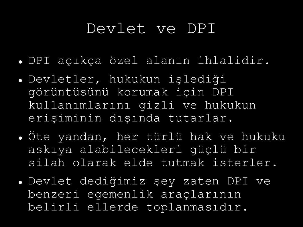 Devlet ve DPI DPI açıkça özel alanın ihlalidir. Devletler, hukukun işlediği görüntüsünü korumak için DPI kullanımlarını gizli ve hukukun erişiminin dı