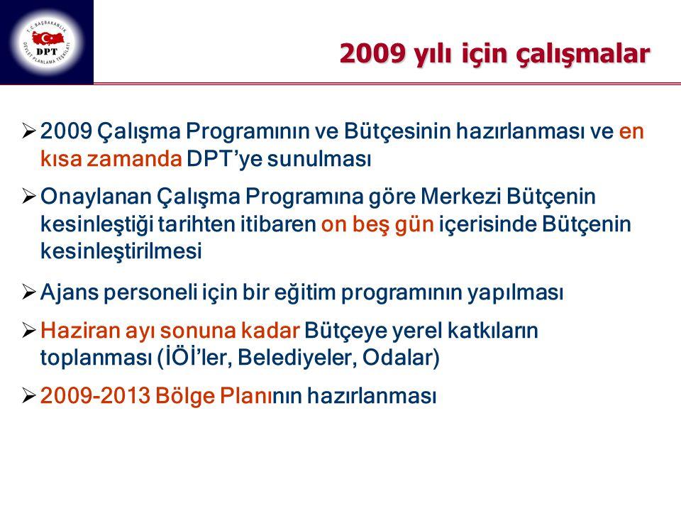 2009 yılı için çalışmalar  2009 Çalışma Programının ve Bütçesinin hazırlanması ve en kısa zamanda DPT'ye sunulması  Onaylanan Çalışma Programına gör