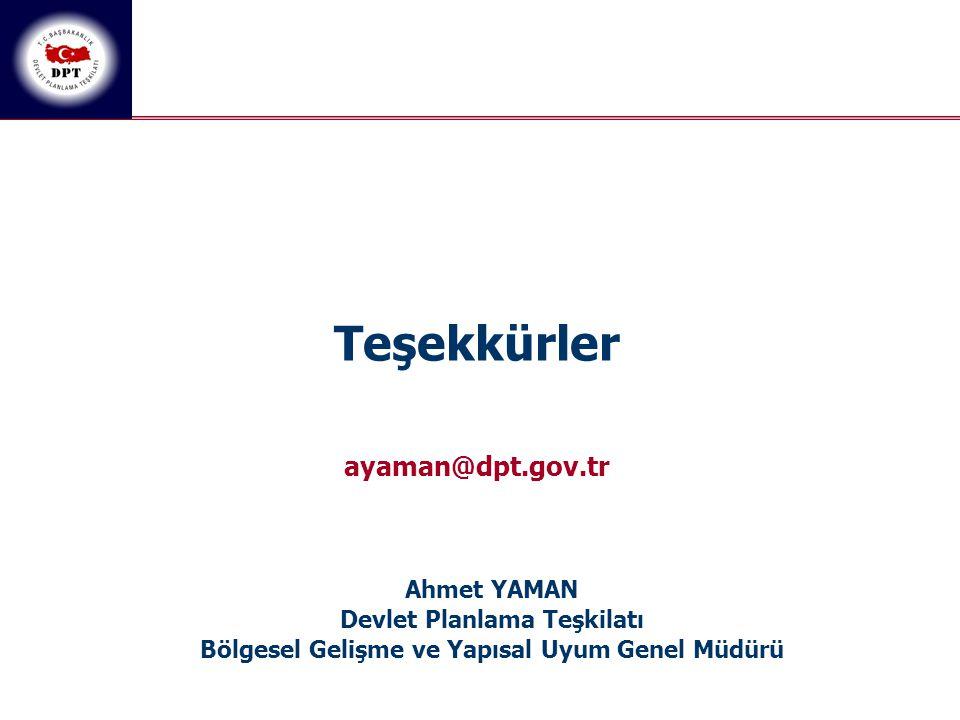 Teşekkürler ayaman@dpt.gov.tr Ahmet YAMAN Devlet Planlama Teşkilatı Bölgesel Gelişme ve Yapısal Uyum Genel Müdürü