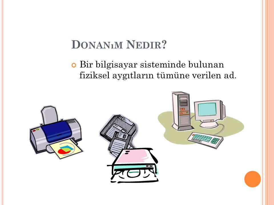 D ONANıM N EDIR ? Bir bilgisayar sisteminde bulunan fiziksel aygıtların tümüne verilen ad.