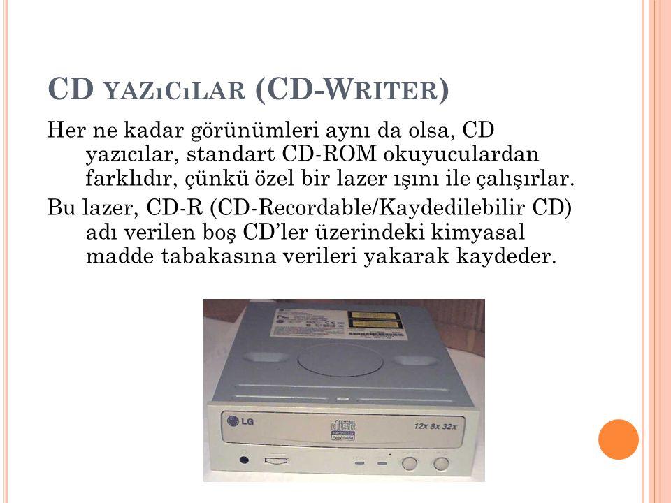 CD YAZıCıLAR (CD-W RITER ) Her ne kadar görünümleri aynı da olsa, CD yazıcılar, standart CD-ROM okuyuculardan farklıdır, çünkü özel bir lazer ışını il