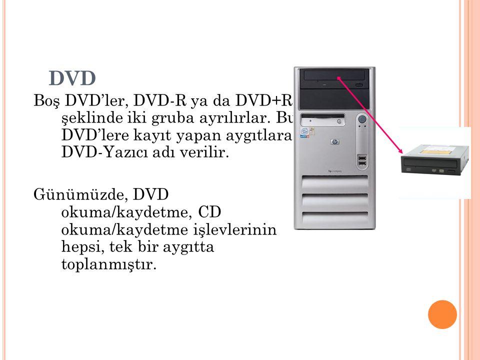 Boş DVD'ler, DVD-R ya da DVD+R şeklinde iki gruba ayrılırlar. Bu DVD'lere kayıt yapan aygıtlara DVD-Yazıcı adı verilir. Günümüzde, DVD okuma/kaydetme,