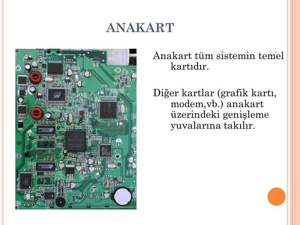 ANAKART Anakart tüm sistemin temel kartıdır. Diğer kartlar (grafik kartı, modem,vb.) anakart üzerindeki genişleme yuvalarına takılır.