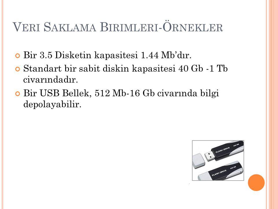 V ERI S AKLAMA B IRIMLERI -Ö RNEKLER Bir 3.5 Disketin kapasitesi 1.44 Mb'dır. Standart bir sabit diskin kapasitesi 40 Gb -1 Tb civarındadır. Bir USB B