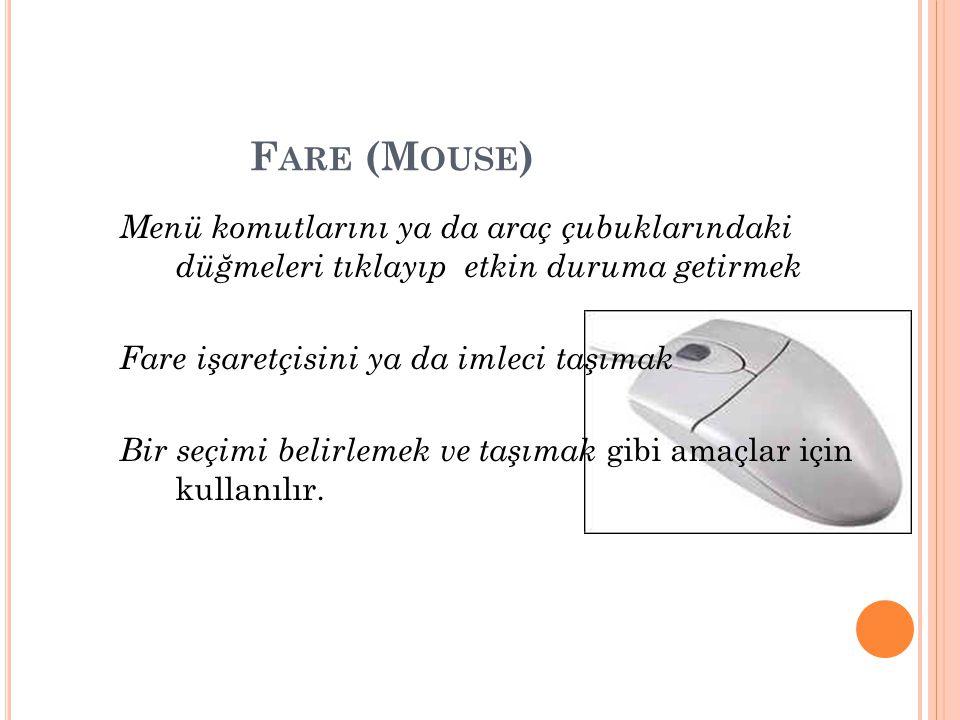 F ARE (M OUSE ) Menü komutlarını ya da araç çubuklarındaki düğmeleri tıklayıp etkin duruma getirmek Fare işaretçisini ya da imleci taşımak Bir seçimi