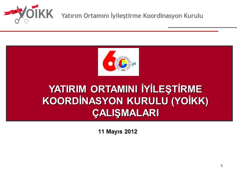 11 11 Mayıs 2012 YATIRIM ORTAMINI İYİLEŞTİRME KOORDİNASYON KURULU (YOİKK) ÇALIŞMALARI