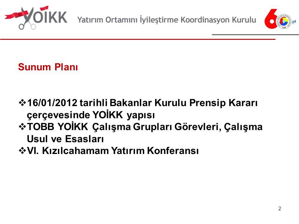 2 Sunum Planı  16/01/2012 tarihli Bakanlar Kurulu Prensip Kararı çerçevesinde YOİKK yapısı  TOBB YOİKK Çalışma Grupları Görevleri, Çalışma Usul ve Esasları  VI.