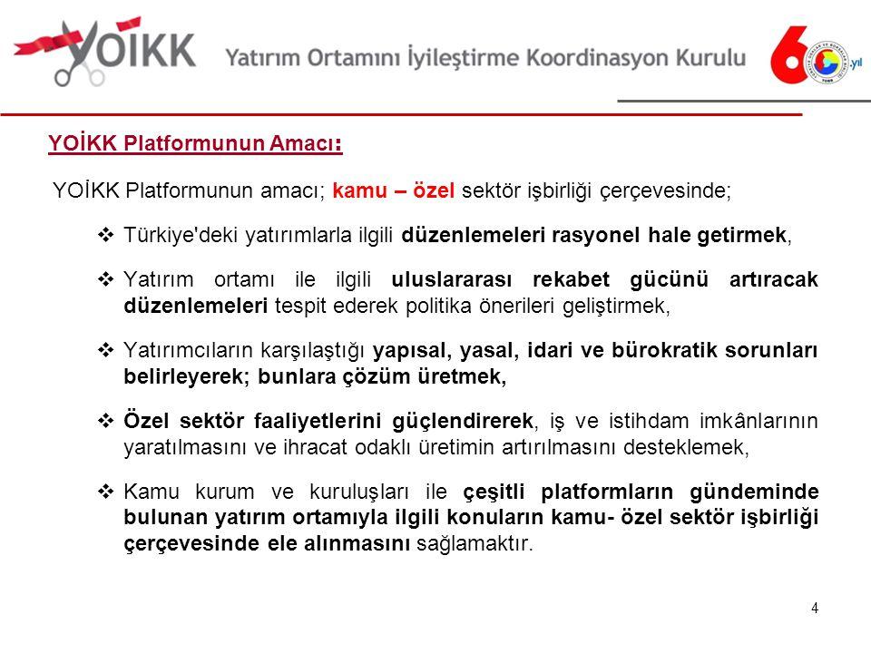 YOİKK Platformunun amacı; kamu – özel sektör işbirliği çerçevesinde;  Türkiye deki yatırımlarla ilgili düzenlemeleri rasyonel hale getirmek,  Yatırım ortamı ile ilgili uluslararası rekabet gücünü artıracak düzenlemeleri tespit ederek politika önerileri geliştirmek,  Yatırımcıların karşılaştığı yapısal, yasal, idari ve bürokratik sorunları belirleyerek; bunlara çözüm üretmek,  Özel sektör faaliyetlerini güçlendirerek, iş ve istihdam imkânlarının yaratılmasını ve ihracat odaklı üretimin artırılmasını desteklemek,  Kamu kurum ve kuruluşları ile çeşitli platformların gündeminde bulunan yatırım ortamıyla ilgili konuların kamu- özel sektör işbirliği çerçevesinde ele alınmasını sağlamaktır.
