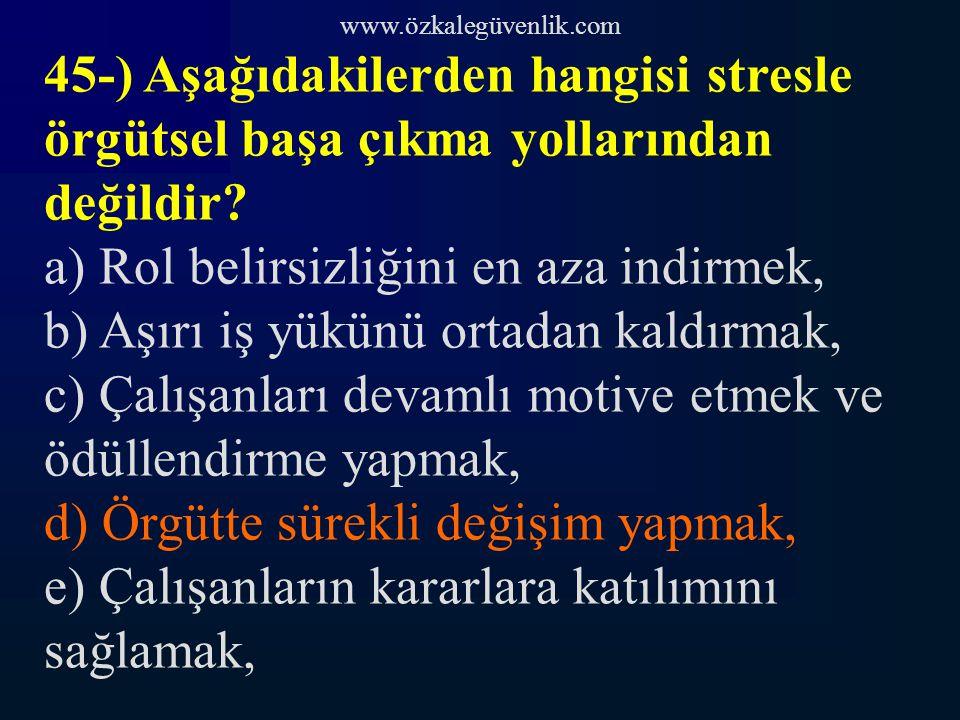 www.özkalegüvenlik.com 45-) Aşağıdakilerden hangisi stresle örgütsel başa çıkma yollarından değildir.
