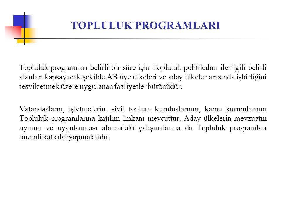 TOPLULUK PROGRAMLARI Topluluk programları belirli bir süre için Topluluk politikaları ile ilgili belirli alanları kapsayacak şekilde AB üye ülkeleri ve aday ülkeler arasında işbirliğini teşvik etmek üzere uygulanan faaliyetler bütünüdür.