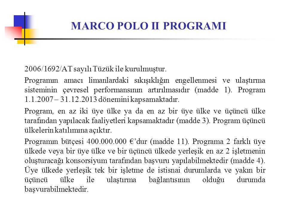 MARCO POLO II PROGRAMI 2006/1692/AT sayılı Tüzük ile kurulmuştur.