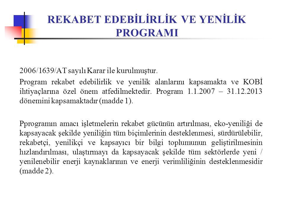 REKABET EDEBİLİRLİK VE YENİLİK PROGRAMI 2006/1639/AT sayılı Karar ile kurulmuştur.