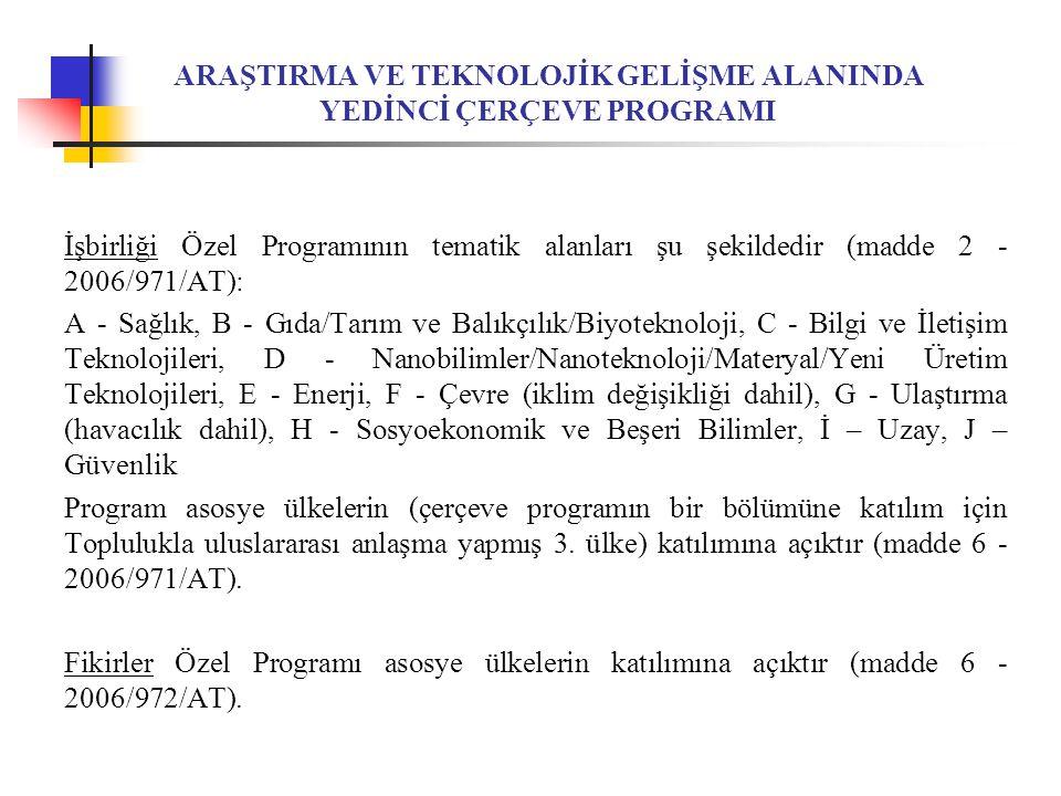 ARAŞTIRMA VE TEKNOLOJİK GELİŞME ALANINDA YEDİNCİ ÇERÇEVE PROGRAMI İşbirliği Özel Programının tematik alanları şu şekildedir (madde 2 - 2006/971/AT): A - Sağlık, B - Gıda/Tarım ve Balıkçılık/Biyoteknoloji, C - Bilgi ve İletişim Teknolojileri, D - Nanobilimler/Nanoteknoloji/Materyal/Yeni Üretim Teknolojileri, E - Enerji, F - Çevre (iklim değişikliği dahil), G - Ulaştırma (havacılık dahil), H - Sosyoekonomik ve Beşeri Bilimler, İ – Uzay, J – Güvenlik Program asosye ülkelerin (çerçeve programın bir bölümüne katılım için Toplulukla uluslararası anlaşma yapmış 3.