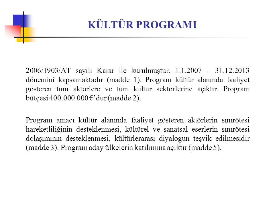 KÜLTÜR PROGRAMI 2006/1903/AT sayılı Karar ile kurulmuştur.