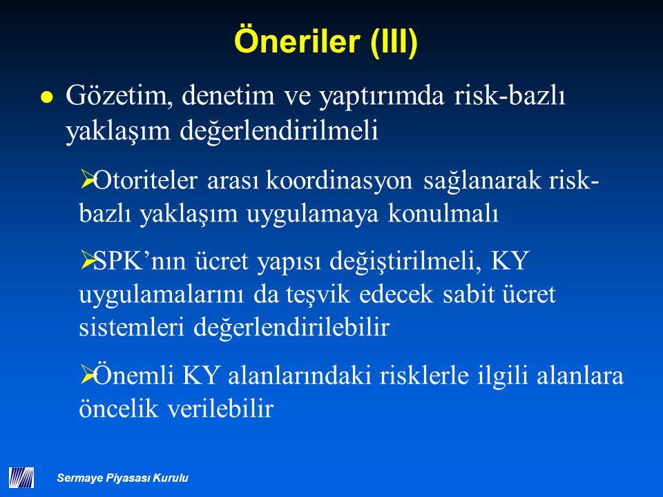 Sermaye Piyasası Kurulu Öneriler (III) Gözetim, denetim ve yaptırımda risk-bazlı yaklaşım değerlendirilmeli  Otoriteler arası koordinasyon sağlanarak