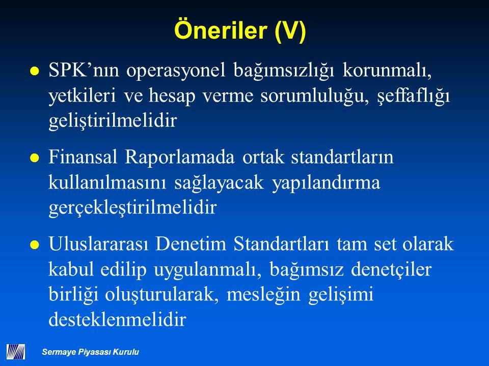 Sermaye Piyasası Kurulu Öneriler (V) SPK'nın operasyonel bağımsızlığı korunmalı, yetkileri ve hesap verme sorumluluğu, şeffaflığı geliştirilmelidir Fi