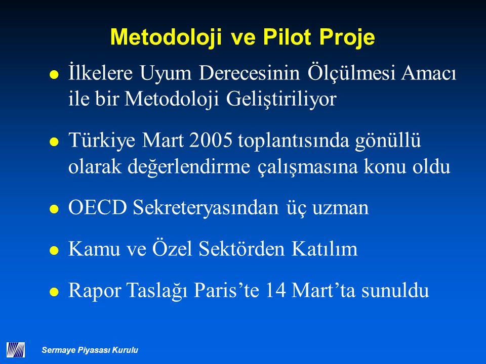 Sermaye Piyasası Kurulu Metodoloji ve Pilot Proje İlkelere Uyum Derecesinin Ölçülmesi Amacı ile bir Metodoloji Geliştiriliyor Türkiye Mart 2005 toplan