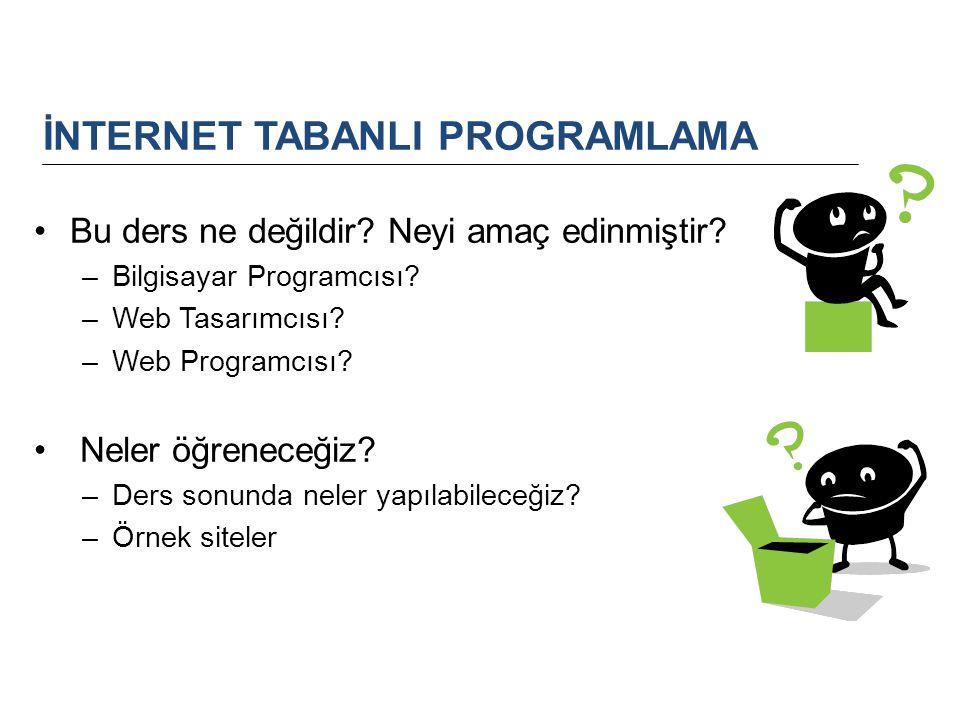 Bu ders ne değildir? Neyi amaç edinmiştir? –Bilgisayar Programcısı? –Web Tasarımcısı? –Web Programcısı? Neler öğreneceğiz? –Ders sonunda neler yapılab
