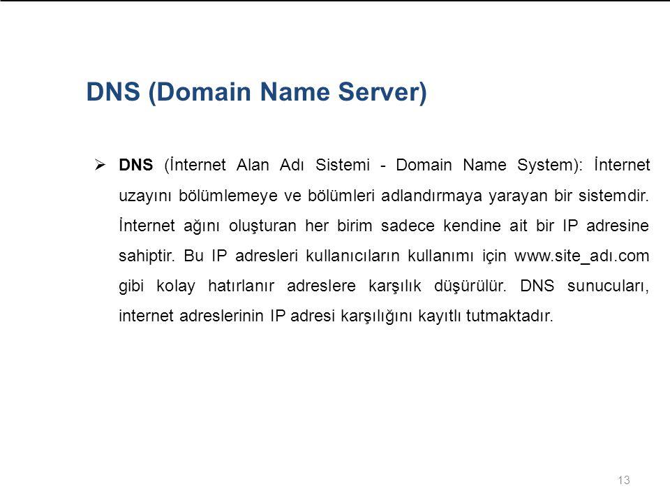 13  DNS (İnternet Alan Adı Sistemi - Domain Name System): İnternet uzayını bölümlemeye ve bölümleri adlandırmaya yarayan bir sistemdir.