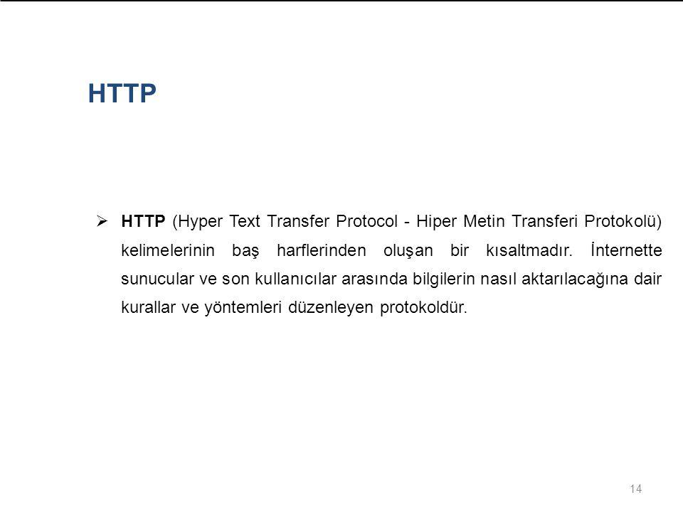 14  HTTP (Hyper Text Transfer Protocol - Hiper Metin Transferi Protokolü) kelimelerinin baş harflerinden oluşan bir kısaltmadır. İnternette sunucular