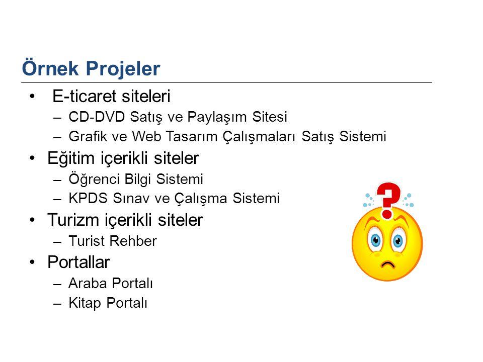 E-ticaret siteleri –CD-DVD Satış ve Paylaşım Sitesi –Grafik ve Web Tasarım Çalışmaları Satış Sistemi Eğitim içerikli siteler –Öğrenci Bilgi Sistemi –K