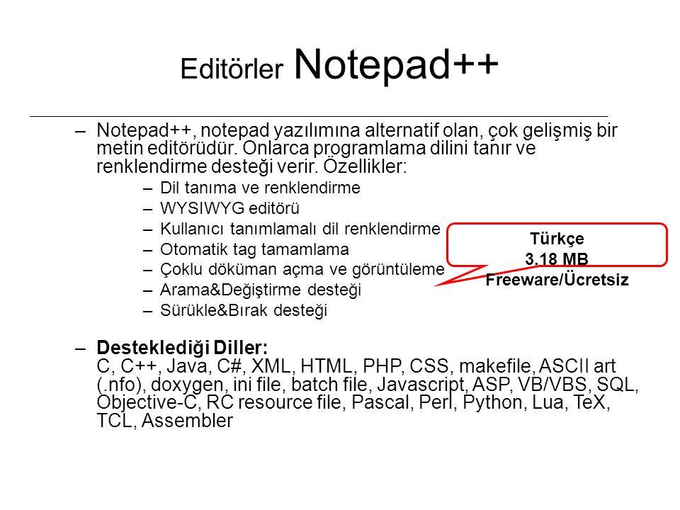 Editörler Notepad++ –Notepad++, notepad yazılımına alternatif olan, çok gelişmiş bir metin editörüdür. Onlarca programlama dilini tanır ve renklendirm