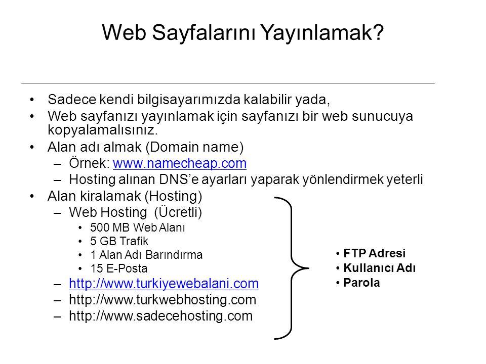 Web Sayfalarını Yayınlamak? Sadece kendi bilgisayarımızda kalabilir yada, Web sayfanızı yayınlamak için sayfanızı bir web sunucuya kopyalamalısınız. A