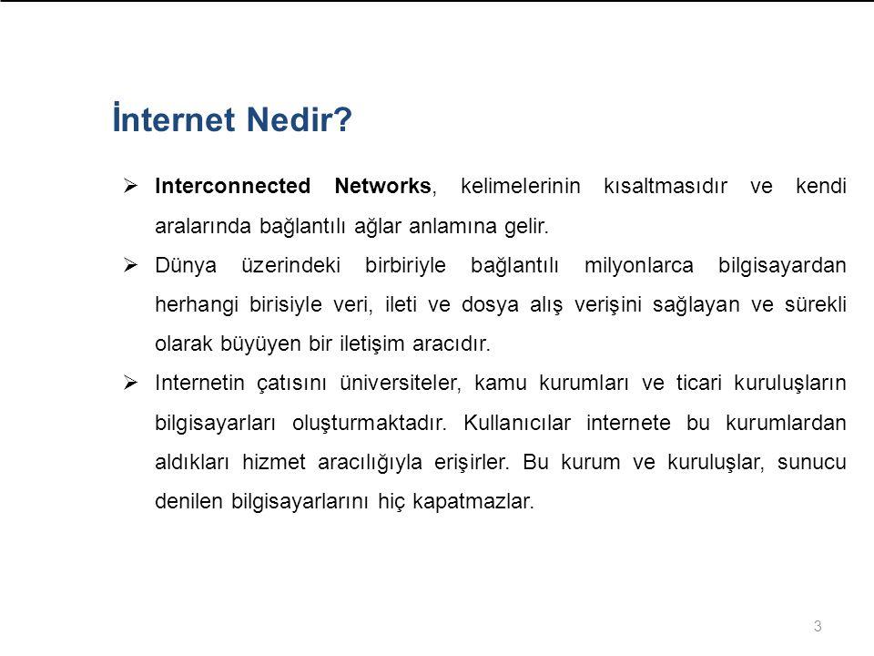 3 İnternet Nedir?  Interconnected Networks, kelimelerinin kısaltmasıdır ve kendi aralarında bağlantılı ağlar anlamına gelir.  Dünya üzerindeki birbi