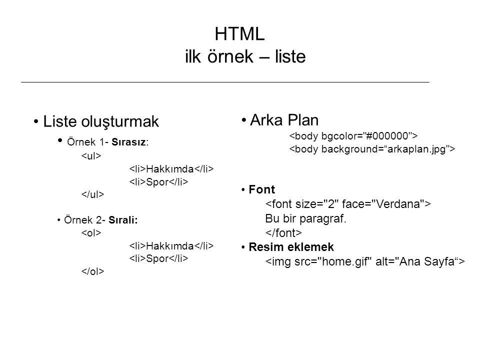 HTML ilk örnek – liste Liste oluşturmak Örnek 1- Sırasız: Hakkımda Spor Örnek 2- Sırali: Hakkımda Spor Arka Plan Font Bu bir paragraf. Resim eklemek