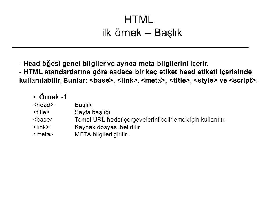 HTML ilk örnek – Başlık - Head öğesi genel bilgiler ve ayrıca meta-bilgilerini içerir. - HTML standartlarına göre sadece bir kaç etiket head etiketi i