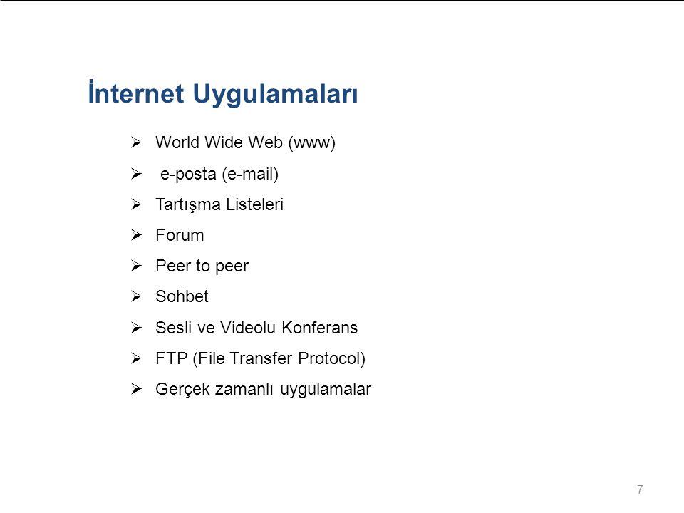7 İnternet Uygulamaları  World Wide Web (www)  e-posta (e-mail)  Tartışma Listeleri  Forum  Peer to peer  Sohbet  Sesli ve Videolu Konferans  FTP (File Transfer Protocol)  Gerçek zamanlı uygulamalar