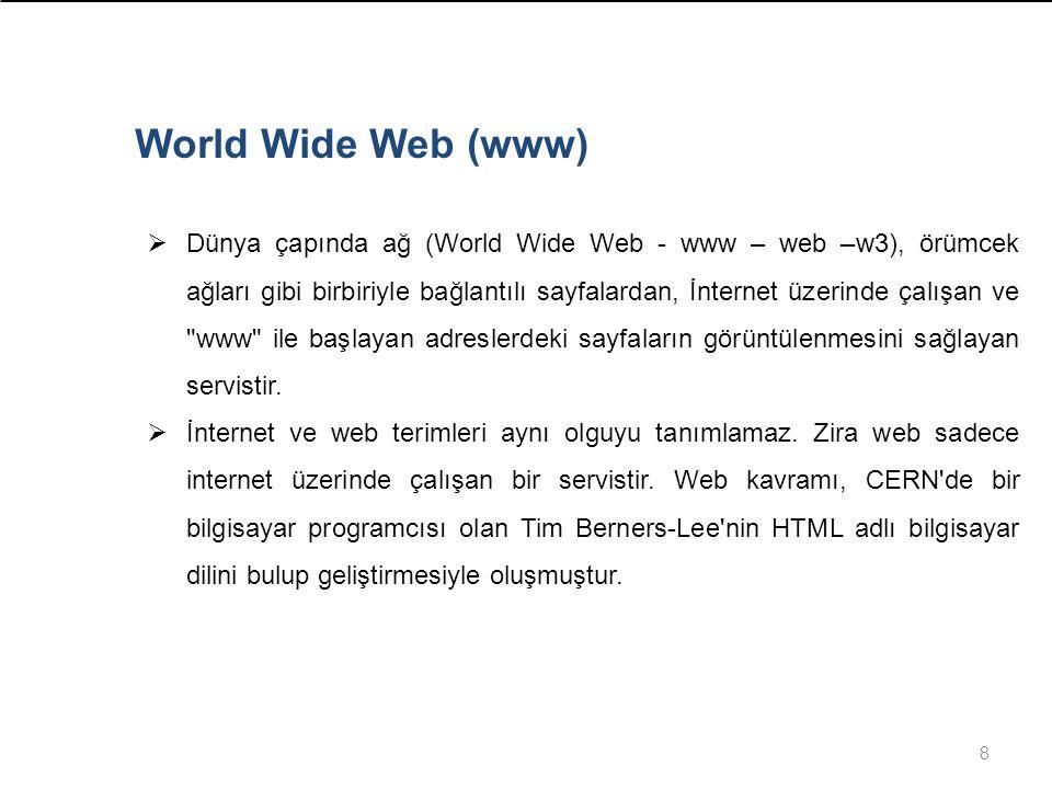 8 World Wide Web (www)  Dünya çapında ağ (World Wide Web - www – web –w3), örümcek ağları gibi birbiriyle bağlantılı sayfalardan, İnternet üzerinde çalışan ve www ile başlayan adreslerdeki sayfaların görüntülenmesini sağlayan servistir.