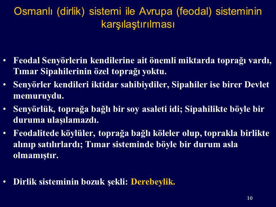 Osmanlı (dirlik) sistemi ile Avrupa (feodal) sisteminin karşılaştırılması Feodal Senyörlerin kendilerine ait önemli miktarda toprağı vardı, Tımar Sipahilerinin özel toprağı yoktu.