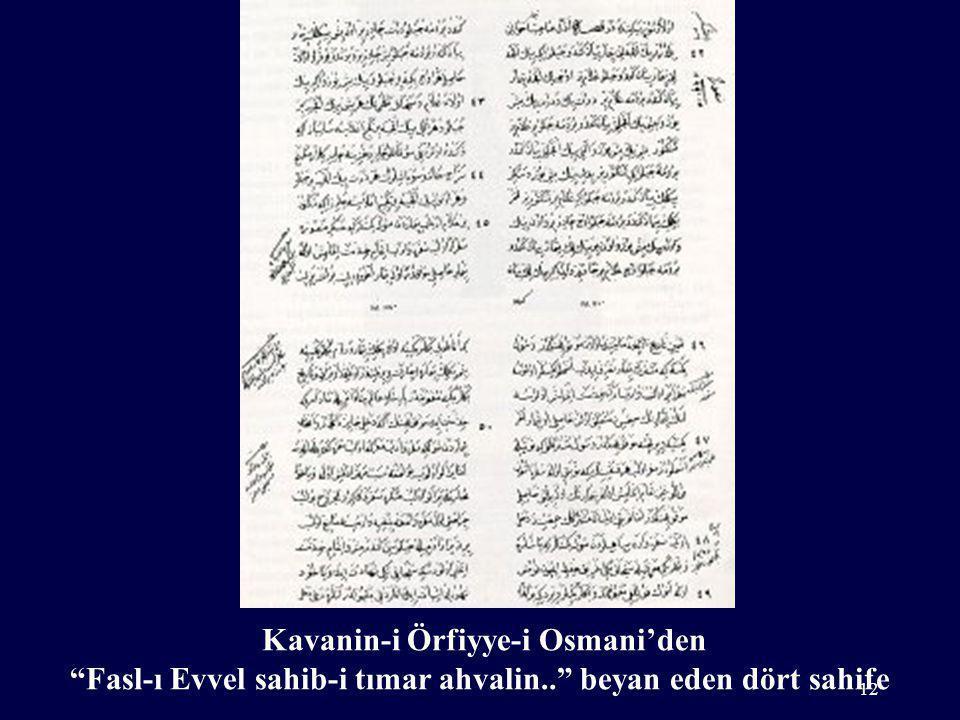Kavanin-i Örfiyye-i Osmani'den Fasl-ı Evvel sahib-i tımar ahvalin.. beyan eden dört sahife 12