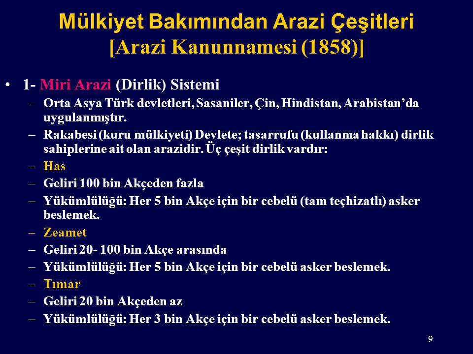 Mülkiyet Bakımından Arazi Çeşitleri [Arazi Kanunnamesi (1858)] 1- Miri Arazi (Dirlik) Sistemi –Orta Asya Türk devletleri, Sasaniler, Çin, Hindistan, Arabistan'da uygulanmıştır.