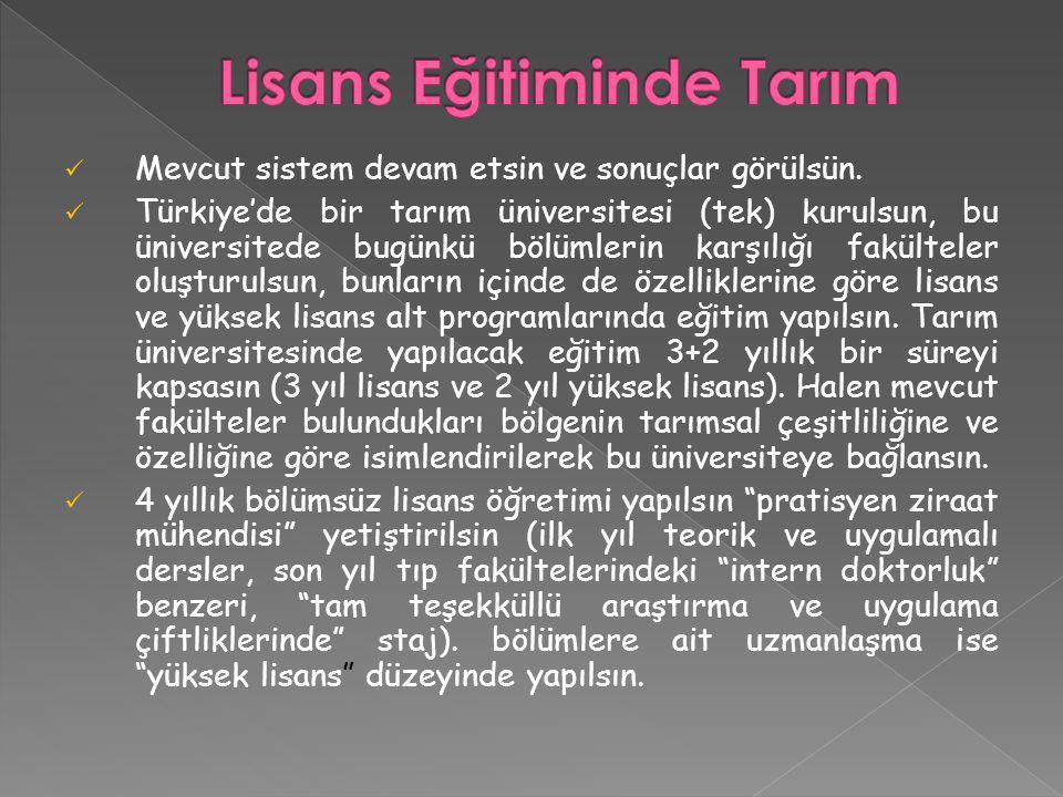 Mevcut sistem devam etsin ve sonuçlar görülsün. Türkiye'de bir tarım üniversitesi (tek) kurulsun, bu üniversitede bugünkü bölümlerin karşılığı fakülte