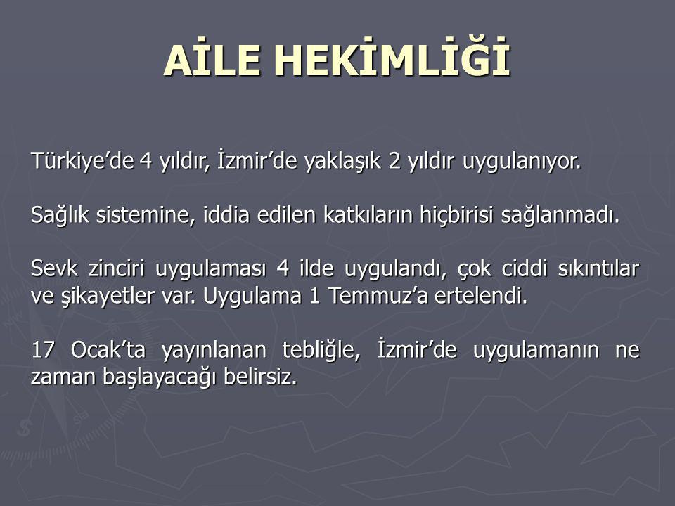 AİLE HEKİMLİĞİ Türkiye'de 4 yıldır, İzmir'de yaklaşık 2 yıldır uygulanıyor.