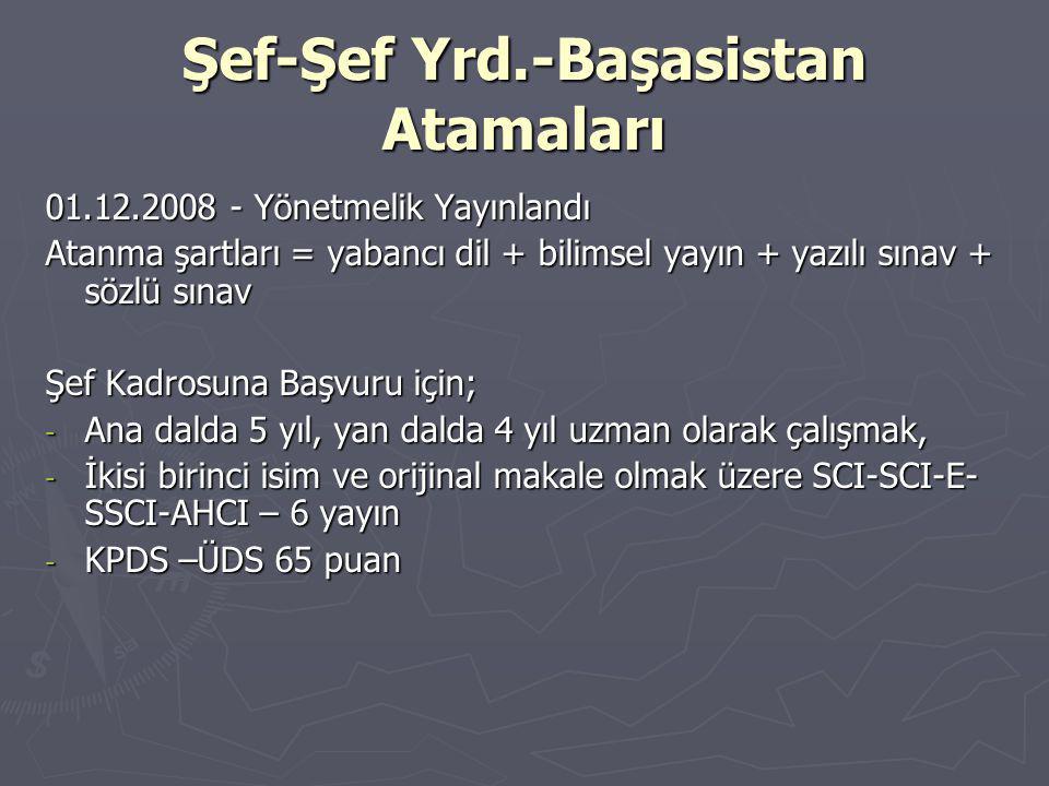 Şef-Şef Yrd.-Başasistan Atamaları 01.12.2008 - Yönetmelik Yayınlandı Atanma şartları = yabancı dil + bilimsel yayın + yazılı sınav + sözlü sınav Şef Kadrosuna Başvuru için; - Ana dalda 5 yıl, yan dalda 4 yıl uzman olarak çalışmak, - İkisi birinci isim ve orijinal makale olmak üzere SCI-SCI-E- SSCI-AHCI – 6 yayın - KPDS –ÜDS 65 puan