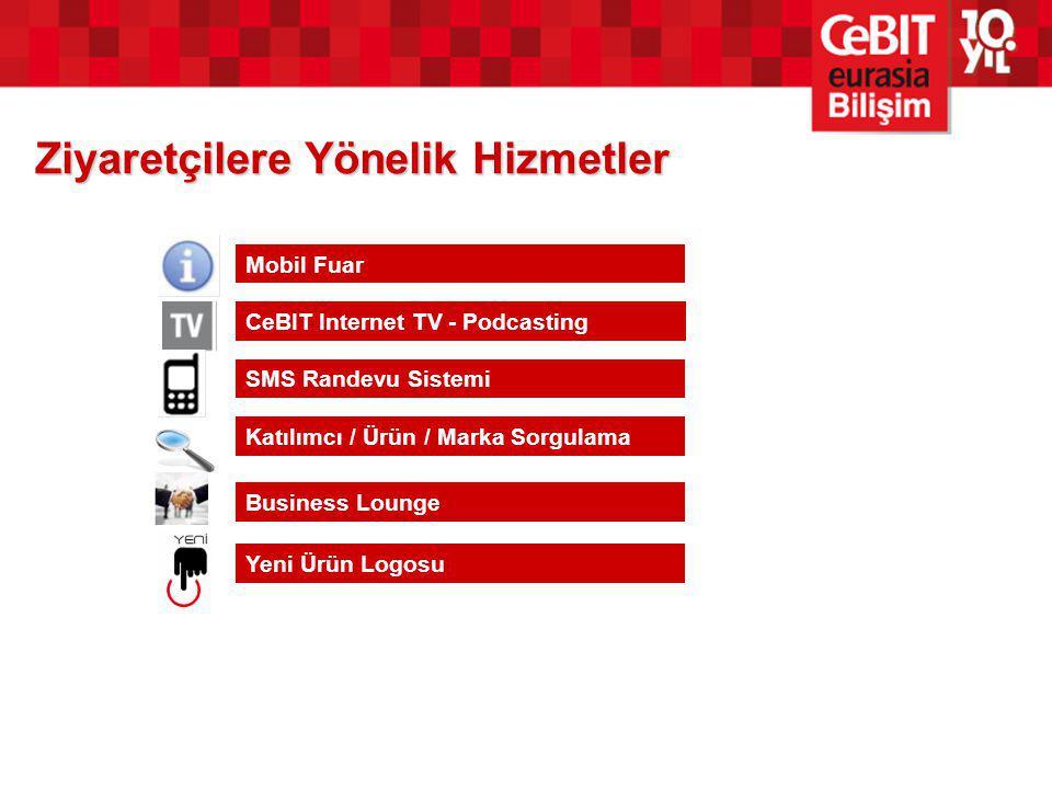 Ziyaretçilere Yönelik Hizmetler Mobil Fuar CeBIT Internet TV - Podcasting SMS Randevu Sistemi Katılımcı / Ürün / Marka Sorgulama Business Lounge Yeni